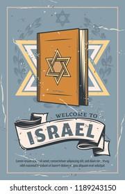 Judaism symbol, Torah book. National Torah textbook and David star sign. Brochure encompasses religion, philosophy, culture and patriotism of Jewish people. Vector design