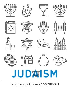 Judaism symbols of Jewish religious thin line art icons. Vector isolated set of David star and Torah Judaism book, religion food and drink, synagogue or menorah and Eucharist or Hamsa and Shofar