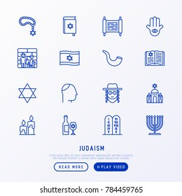 Judaism thin line icons set: Orthodox jew, star of David, sufganiyot, hamsa, candles, synagogue, skullcap, rosary, Western Wal, Tanakh. Modern vector illustration.