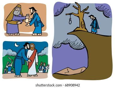 Judas betrays Jesus and later he regrets about it.