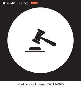 judge or auction hammer. icon. vector design