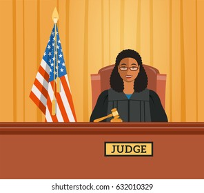 Judge black woman in courtroom at tribunal with gavel and american flag. Judicial cartoon background. Civil and criminal cases public trial. Vector flat illustration.