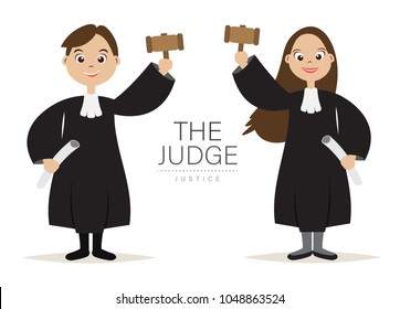 The Judge Cartoon Character design with Hold the hammer for Judge and Justice,Law day Concept,vector,illustration.