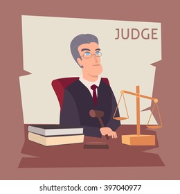 judge cartoon illustration. Judges profession icons with man in mantle or legislation.