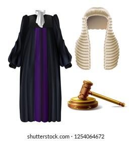 Judge ceremonial clothing and wooden gavel 3d realistic vector isolated on white background. Court dress with long wig, black robe and bow tie on collar illustration. Law and justice system symbols