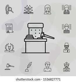 Judge chair, gavel icon. Universal set of law and justice for website design and development, app development