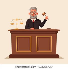 Judge character with hammer. Cartoon vector illustration
