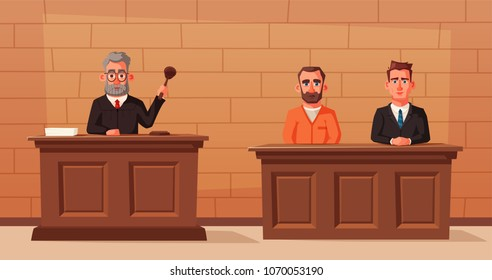 Judge character with hammer, lawyer and defendant. Cartoon vector illustration