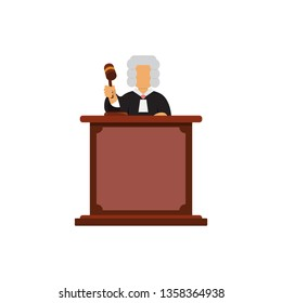 Judge character with hammer on table.
