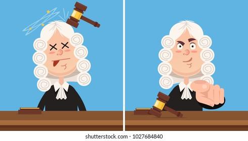 Judge character mascot. Vector flat cartoon illustration set