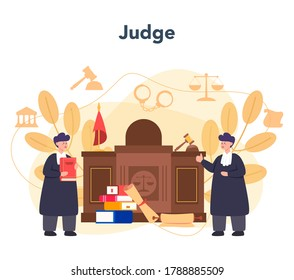 Judge concept. Court worker stand for justice and law. Judge in traditional black robe. Judgement and punishment idea. Isolated flat vector illustration