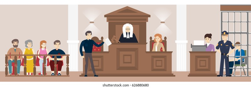 Judge in court. Judging guilty person with law and witnesses,