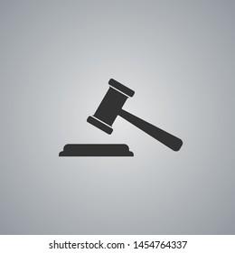 Judge gavel black flat icon on grey background. Vector illustration.