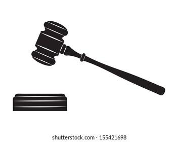 Judge gavel. Black silhouette on white background.