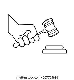 judge gavel in hand symbol, vector