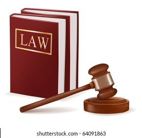 Judge gavel and law books. Photo-realistic vector