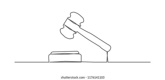 Judge gavel. One line drawing.