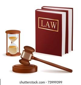 Judge gavel, sandglass and law books. Photo-realistic vector.