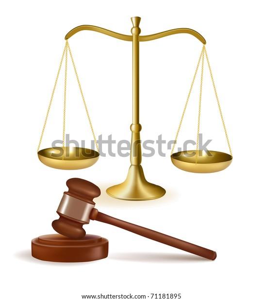 Judge Gavel Scales Vector Illustration Stock Vector ...