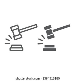 Judge hammer line and glyph icon, judgment and law, auction hammer sign, vector graphics, a linear pattern on a white background, eps 10.