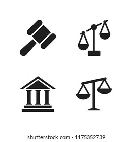 judge icon. 4 judge vector icons set. imbalanced scale, antique columns building front and scale icons for web and design about judge theme