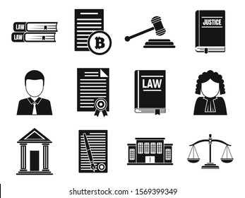 Judge icons set. Simple set of judge vector icons for web design on white background