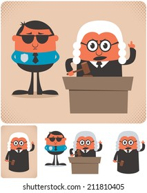 Judge: Illustration of cartoon judge in 4 different versions. No transparency and gradients used.