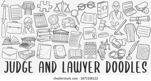 Judge and Lawyer, doodle icon set. Laws Style Vector illustration collection. Banner Hand drawn Line art style.