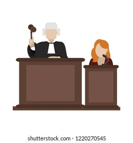 Judge and lawyer on podium