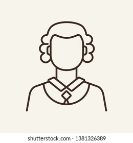 Judge line icon. Lawsuit, jury, woman. Justice concept. Vector illustration can be used for topics like law enforcement, court, law