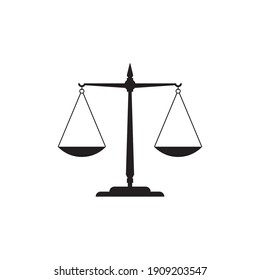 judge scale silhouette icon, trade weight and legal court symbol vector illustration