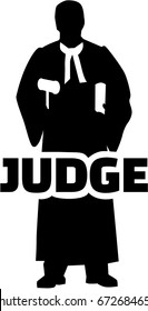Judge silhouette with job title