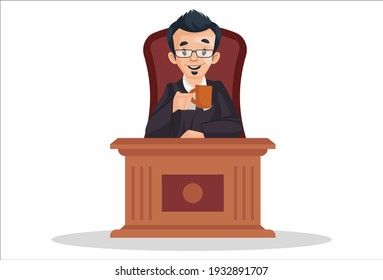 Judge is sitting on a chair and holding a tea cup in hand. Vector graphic illustration. Individually on a white background.