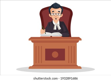 Judge is sitting on chair and writing on a notebook. Vector graphic illustration. Individually on white a background.