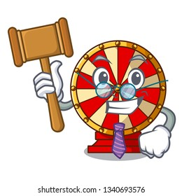 Judge spinning wheel attached the cartoon wall