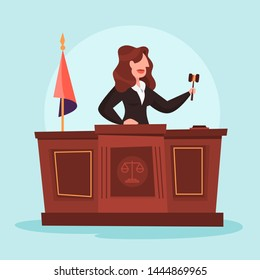 Judge woman in the courtroom. Female character in uniform. Law and justice profession. Lady holding gavel. Vector illustration in cartoon style