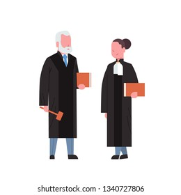 judge woman man couple court workers in judicial robe holding book and hummer low justice professional occupation concept cartoon characters full length white background flat
