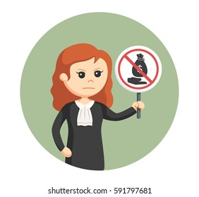 judge woman with no bribe sign in circle background