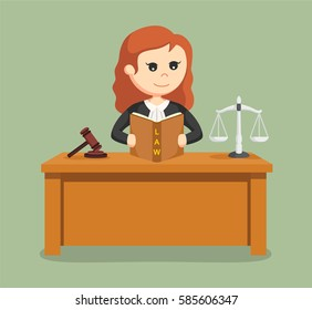 judge woman reading law book