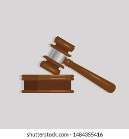 Judge Wood Hammer auction, judgment. Wooden judge ceremonial hammer of the chairman with a wooden stand