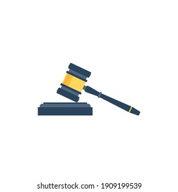 Judge Wood Hammer vector illustration, flat design, auction, judgment, isolated on white background