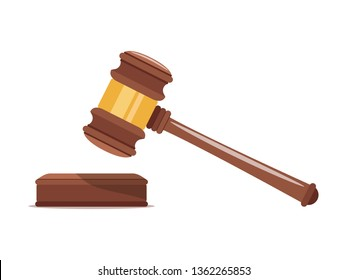 Judge wood hammer with a wooden stand. Gavel justice symbol. Template design for adjudication of sentences and bills, court, justice, auction. Vector illustration