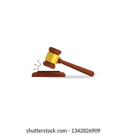 Judge Wood Hammer.flat design, auction, judgment