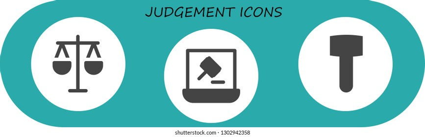 judgement icon set. 3 filled judgement icons.  Simple modern icons about  - Law, Auction, Mallet