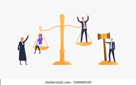 Judgement of people illustration. People standing on scales, federal judge watching on them. Law concept. Vector illustration can be used for topics like presentation, sociality, law court
