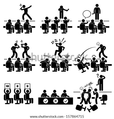Judges Audition Singing Performance Talent Show Stick Figure Pictogram Icon