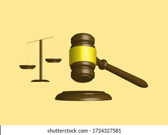 Judge's gavel and scales of brown wood in 3D. Vector illustration.
