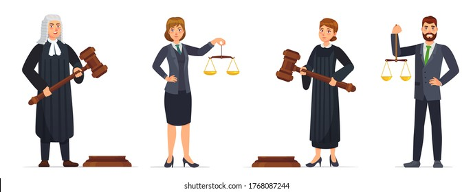 Judges and lawyers. Judge holding hammer and lawyer with scales of justice. Judicial workers, law cartoon vector illustration set. Legal verdict, woman and man with gavel. Court worker characters
