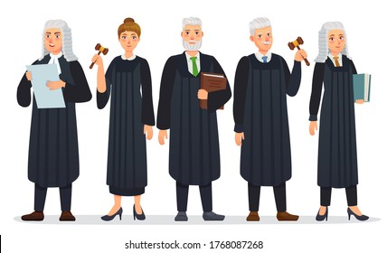 Judges team. Law judge in black robe costume, court people and justice workers vector cartoon illustration. Man and woman holding book and gavel or hummer, law occupation. Magistrate with mallet