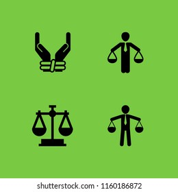 judgment icon. 4 judgment set with law, prisoner and scale vector icons for web and mobile app
